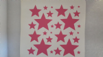"3 x sheets of pink star stickers   Stars 1/2"" - 2"""